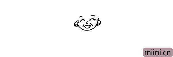 第五步:脸部的两侧画出奶奶的两只耳朵。