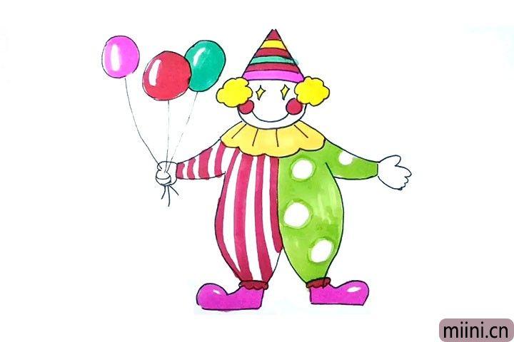 12.最后涂上漂亮的颜色, 可爱的小丑就完成了, 小朋友们, 你们看过马戏团里的小丑表演吗?
