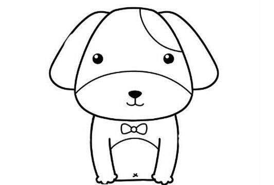 蹲着的可爱小狗简笔画步骤教程