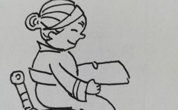 爱看报纸的老奶奶简笔画步骤教程
