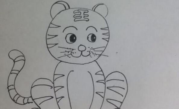 蹲着的森林之王老虎简笔画步骤教程