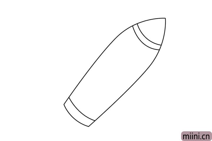 2.机身上画出火箭的头部尾部分割线。