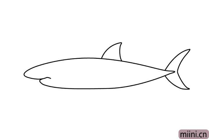 3.第三步是画鱼鳍,尖尖的一块是不是很可爱呢!