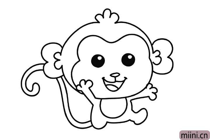 调皮的小猴子简笔画步骤教程