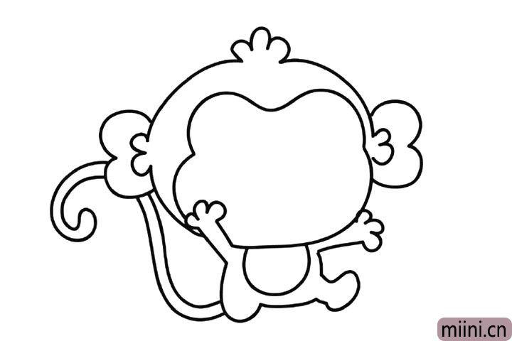7.画出猴子的长尾巴。