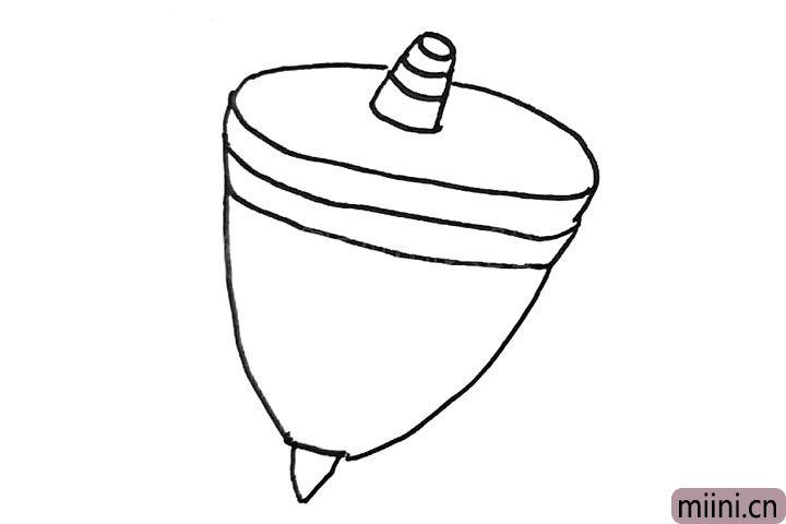 3.画出陀螺的下半部分。