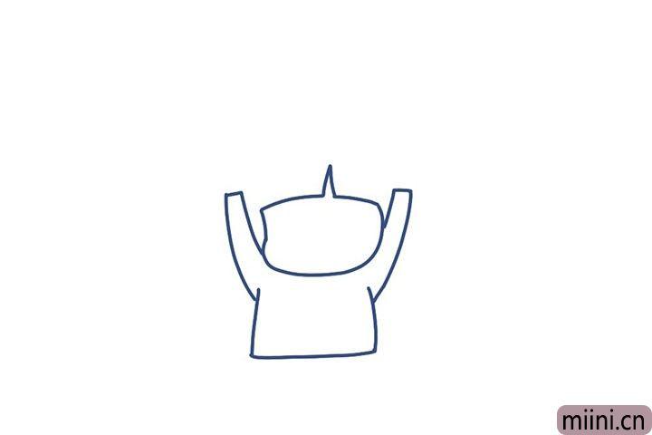 2.接着画身体轮廓和高举的双手。