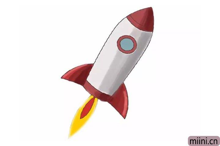 飞向宇宙的火箭简笔画步骤教程