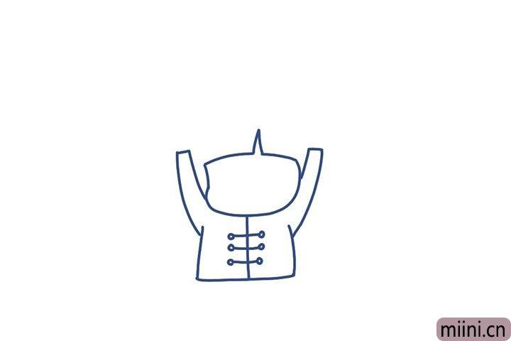 3.画福娃的衣服纽扣。