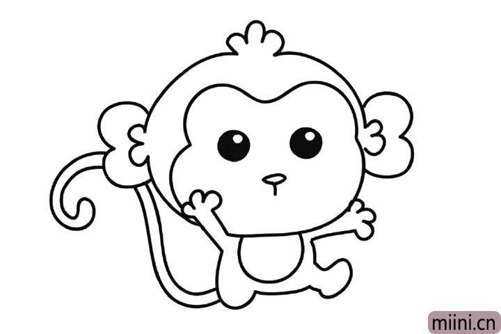 8.画猴子的眼睛鼻子。