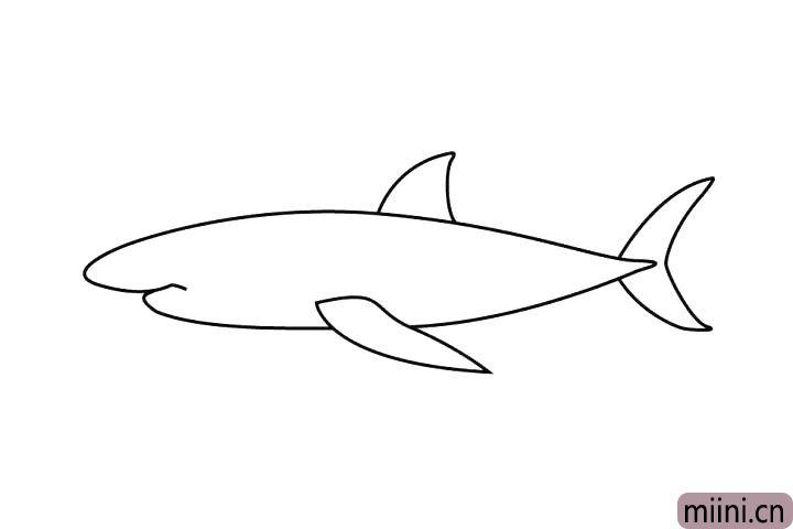 4.再画下面那只鱼鳍哦。