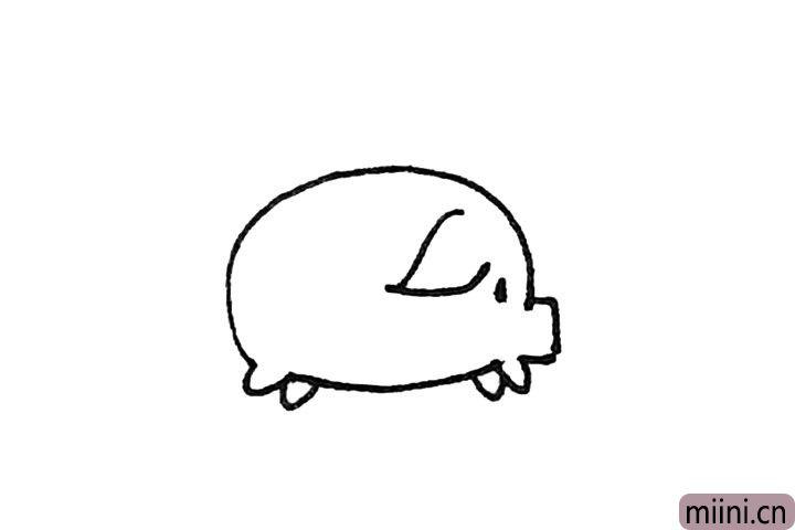 第四步:然后用弧线画出耳朵,点上一个眼睛。