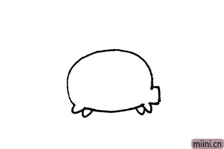 第三步:缺口的部分,画上半个椭圆形作为脚,中间还要画上两个椭圆形作为脚。