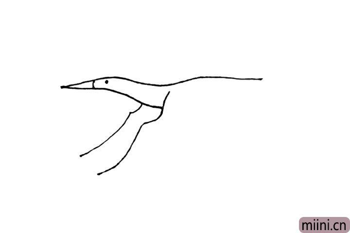 第四步:再画上一条和刚刚一样的竖曲线,加上嘴巴的弧线和点上眼睛。