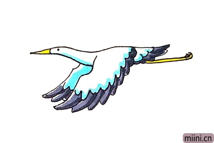 第九步:最后涂上好看的颜色,鹤就完成了。