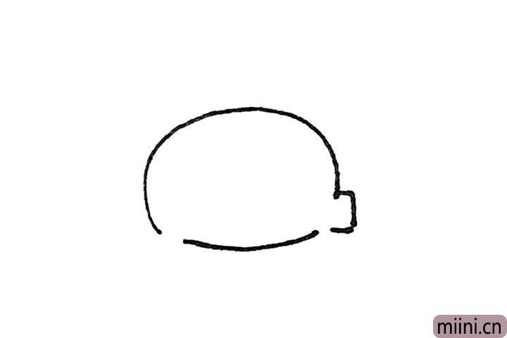 第二步:前面的缺口,先画上一个方形,但还是要留出一点缺口。