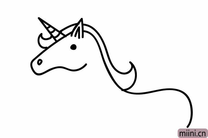 3.画出独角兽的鬃毛。