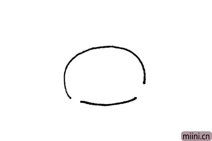 第一步:先画出一个有两个缺口的椭圆形,注意前面的缺口大一些。
