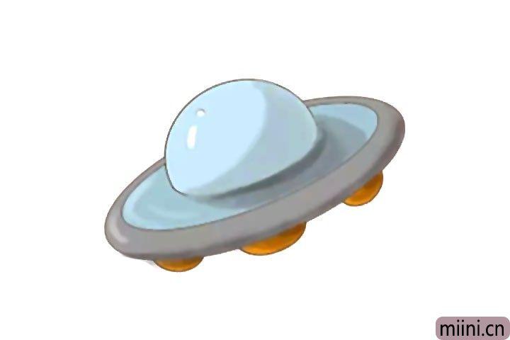 在宇宙遨游的外星飞碟简笔画步骤教程