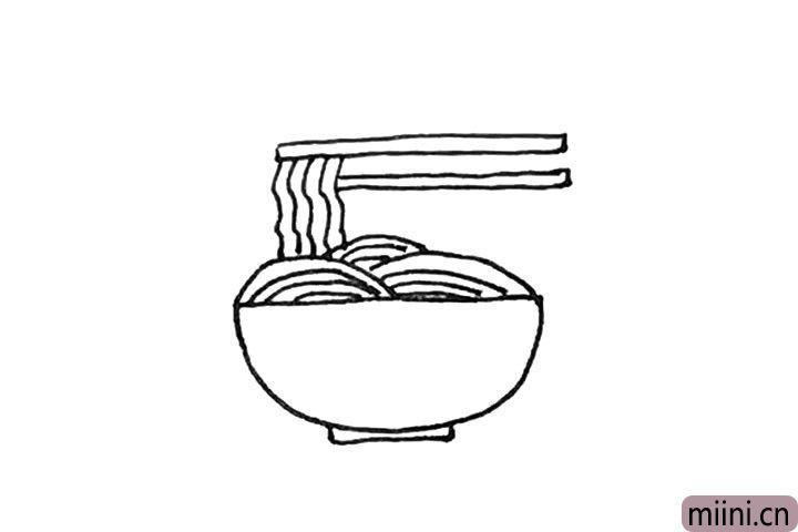 第六步:下面再画上另一个长条的形状作为另一根筷子。
