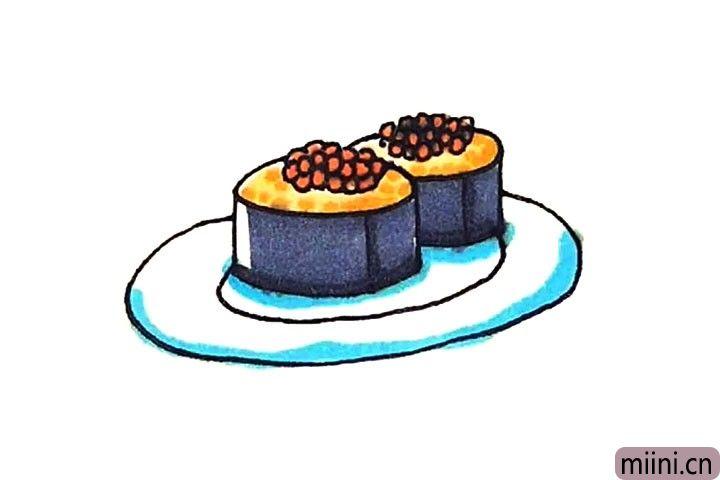 第六步:最后涂上好看的颜色,寿司就这样画好了。