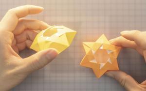 好看又实用的折纸六芒星盒子,很简单