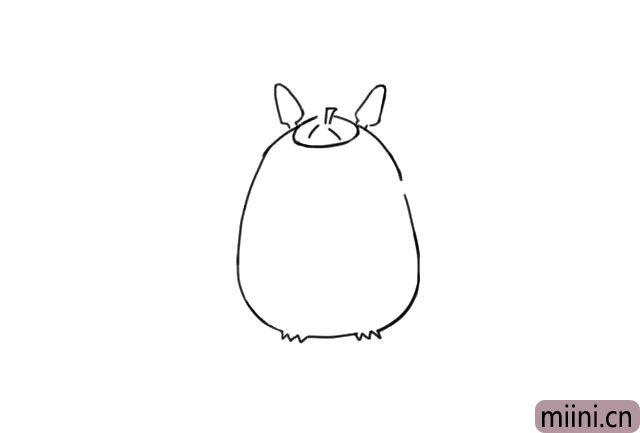 2.然后画出龙猫的身体,跟冬瓜的形状很像是不是?顺便画出它的脚趾,再画出头顶上的帽子。