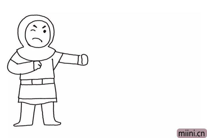 2.画勇士的身体和脚。