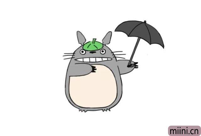 8.接下来就是上色了,大龙猫的主体颜色是灰色,把伞也上好颜色。