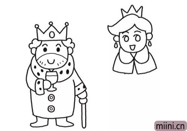 4.在国王右边画出王后的头部和衣领。