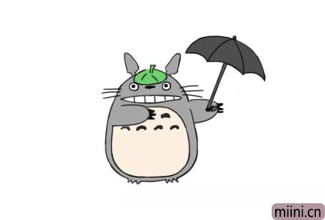 拿着雨伞的可爱龙猫简笔画步骤教程