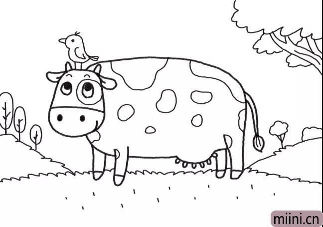 6.画出农场的草地和树木背景。