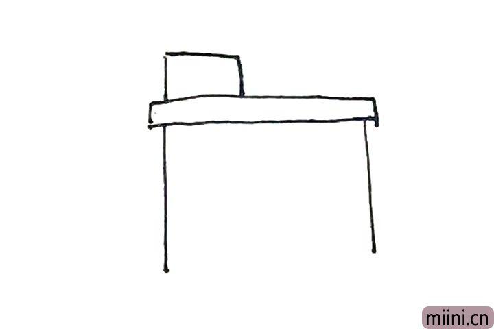 2.上面再画上一个方形,下面画上两条竖线。