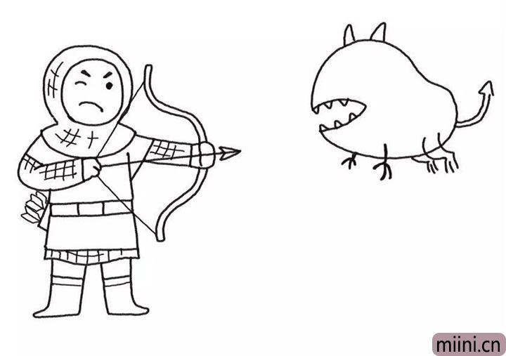 5.接着画怪兽的全身轮廓。