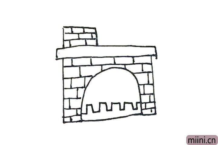 5.接着,除了中间的横条以外,先画上横线,再交错画上竖线作为砖头。