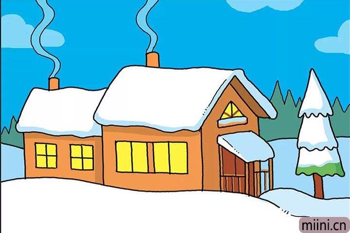 雪地里面的农家小屋子简笔画步骤教程