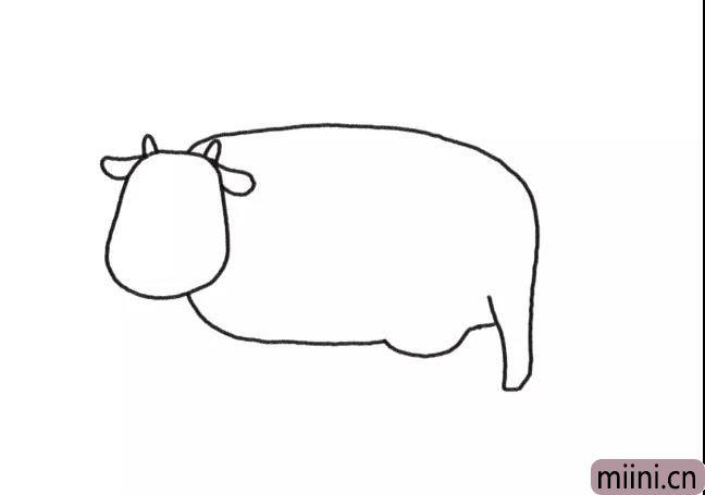 2.画出奶牛大大的身体。