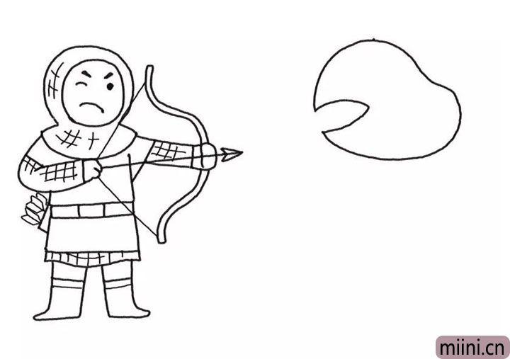 4.然后在旁边画怪兽的头。