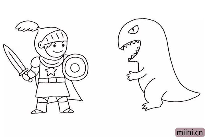 5.画出怪兽的全身线条轮廓。