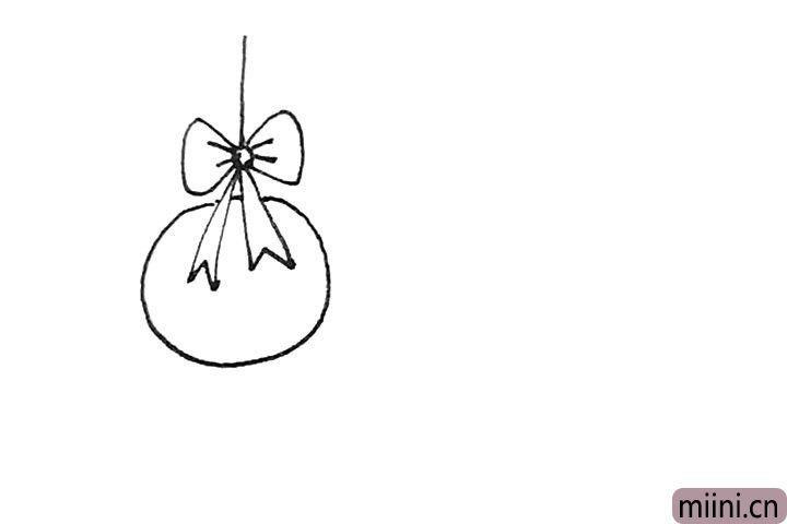 第四步:然后下面再画上一个圆形,上面加上一根线。