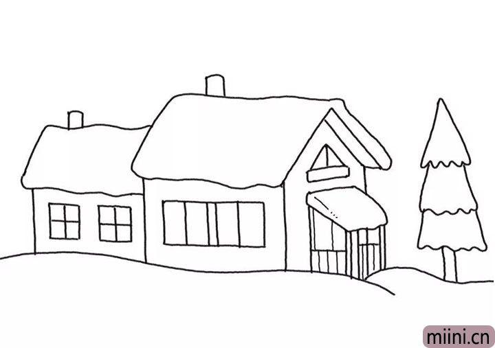 5.旁边画出一颗雪松。