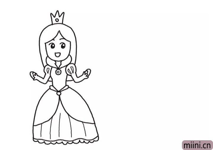 3.画出公主的头发和头冠。