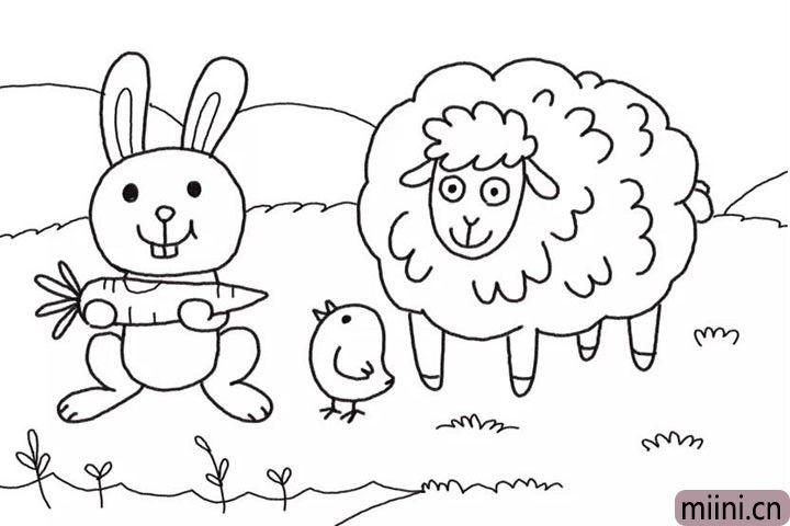 6.画出农场的草地、天空和山脉背景。
