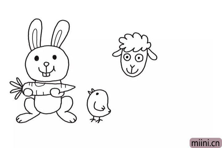 4.开始在右边画小绵羊的头。