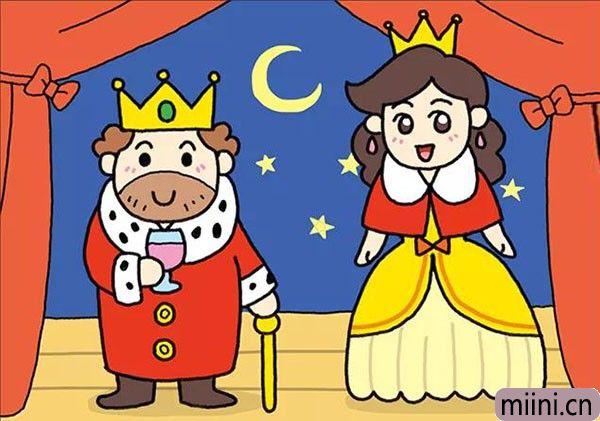 和蔼可亲的国王和王后的简笔画步骤教程