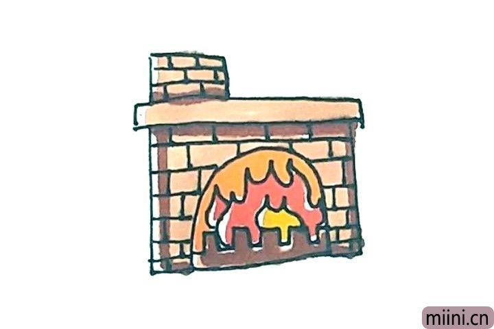 7.最后涂上好看的颜色,壁炉就画好了。