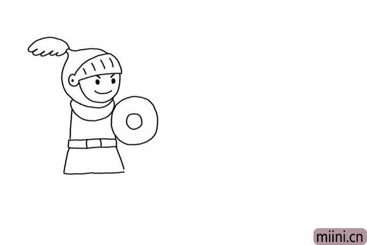 2.画出勇士的身体和盾牌。