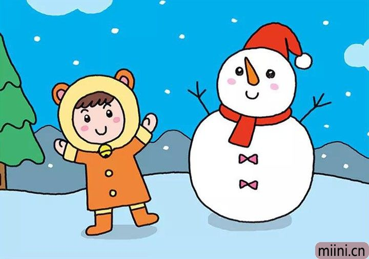 堆雪人的小女孩简笔画步骤教程
