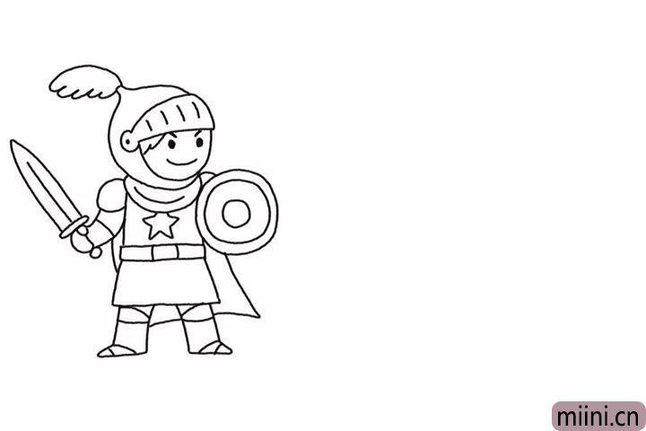 3.画出手中的剑和脚。