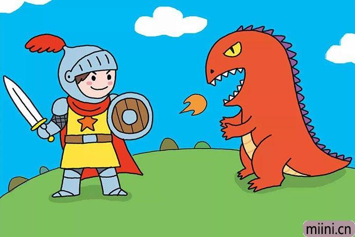 勇敢的士兵拿剑殴打恐龙大怪兽简笔画步骤教程